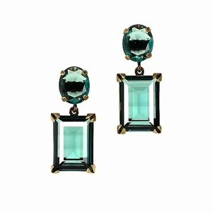 J.Crew Glass Island Drop Teal Jewel Earrings